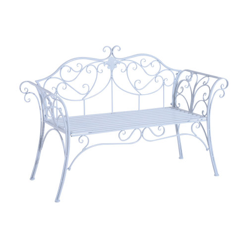 Outsunny 2 Seater Garden Bench Antique Backyard Decorative Cast Iron Backrest - White