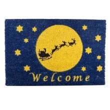 Santa Sleigh Silhouette in Night Sky Christmas Coir Doormat