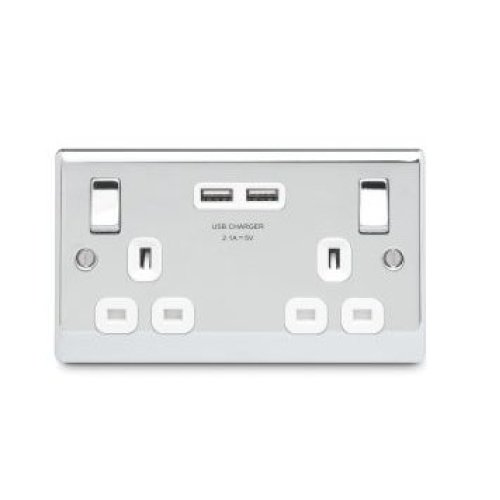 Masterplug 13 A 2 Gang Polished Chrome Switched Socket with 2 x USB Port - White Insert