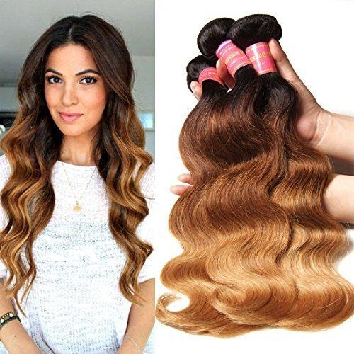 0bae1ab9b Longqi Beauty Brazilian Virgin Hair Body Wave Ombre Hair Weft 3 Bundles  100% Unprocessed Human Hair Weave Extensions 95100gpc (16 18 20 inch, ...