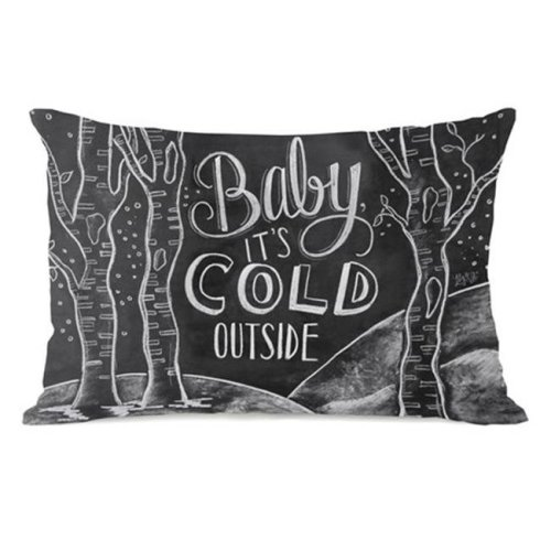 One Bella Casa 73406PL42 Baby Its Cold Outside Pillow by Lily & Val, Gray White - 42 x 42 in.
