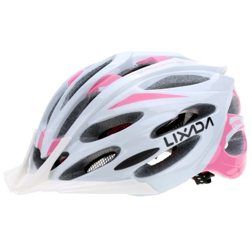 Cycling Bicycle Helmet,24 Vents Adjustable Lightweight Mountain Road Bike Racing Helmets for Men and Women (White + pink)