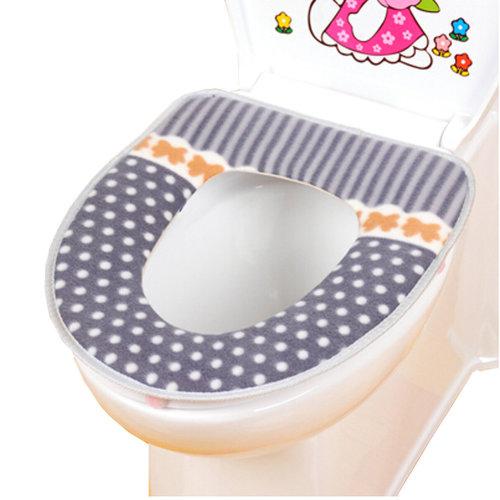 Warm Comfy Toilet Seat Cover -Bathroom Toilet Mat,grey dot