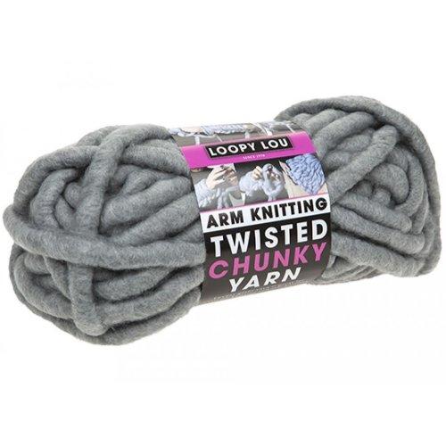 Arm Knitting Twisted Chunky Luxury Knitting Yarn Wool 22M 250g - Grey