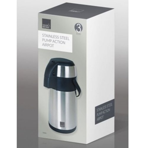 Taylor & Brown 3 Litre Stainless Steel Unbreakable Pump Action Airpot Tea Coffee