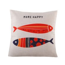 [Fish Couple] Zippered Decorative Throw Pillow Cover Cushion Case 45*45CM
