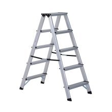 Homcom Aluminium Double Sided Step Ladder Folding A-type Household Stepper (5 Steps)