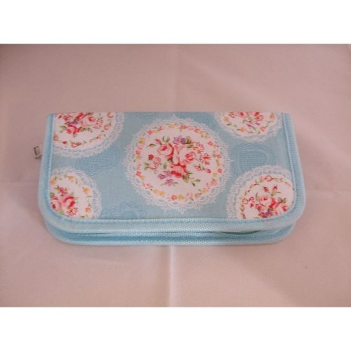 HobbyGift Cameo Blue Floral Design Crochet Hook Carry Case Filled With Bamboo Needles In A Range Of Sizes