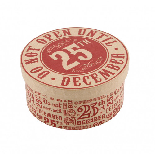 Do not open 25th December Circular Round Kraft Christmas MINI storage gift box