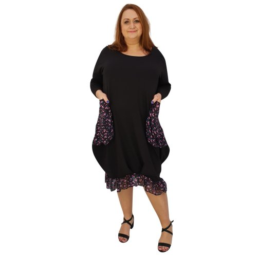 d666737f9aa Plus size asymmetric dress lagenlook loose chiffon pockets and frill long  sleeve  L1045 BLACK  on OnBuy