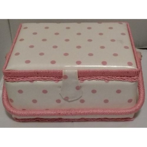HobbyGift Medium Sewing basket - White with Pink Spot - 26.5 x 19.5 x 14cm