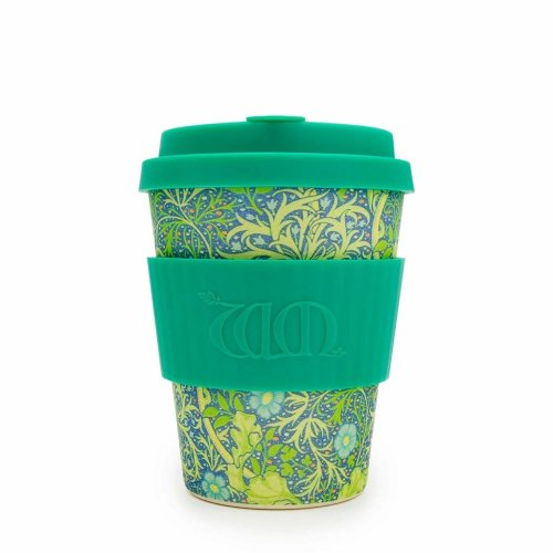 Ecoffee Cup + William Morris: Seaweed Marine with Silicone 12oz, Reusable and Eco Friendly Takeaway Coffee Cup