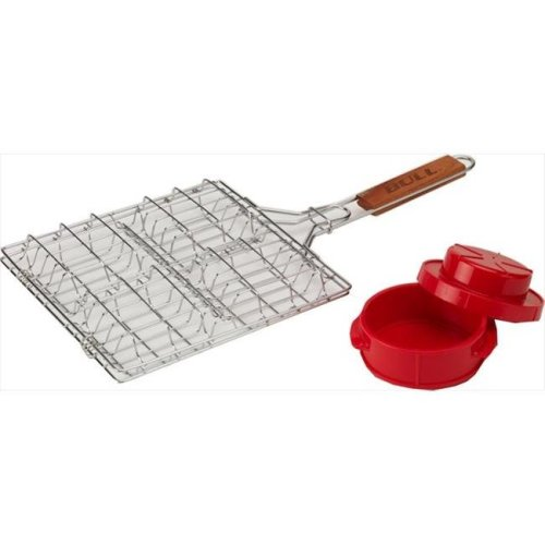 Bull Outdoor Products 24226 Stuff-A-Burger 2 pieces Set, Stainless steel Basket and Press
