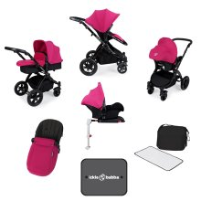 Ickle Bubba Stomp V3 All in One with Isofix Base - Pink on Black Frame