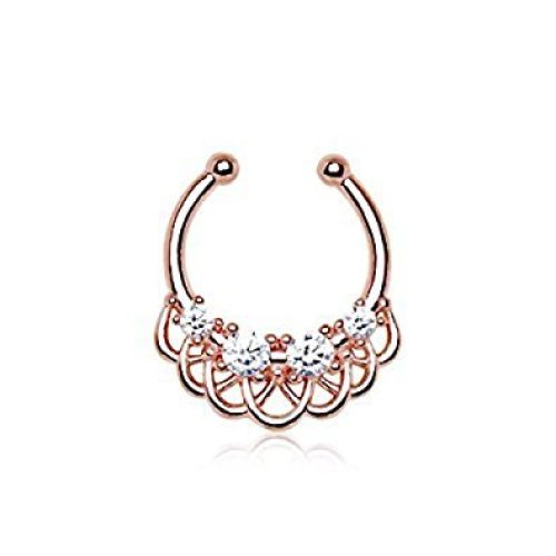 Fake Rose Gold Plated 316L Stainless Steel Made For Royalty Multilink Faux / fake Septum Bar ( No Piercing Required )
