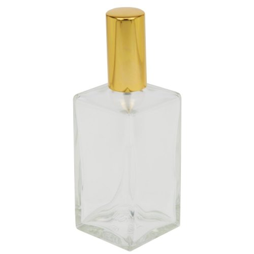 Fantasia 46195 Square Bottle Clear Glass with Spray Pump and Cap for 100 ml Gold