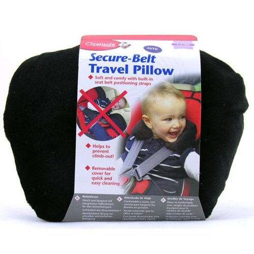 Clippasafe Secure-belt Travel Pillow for Cars - in Black (3-8 Yrs)