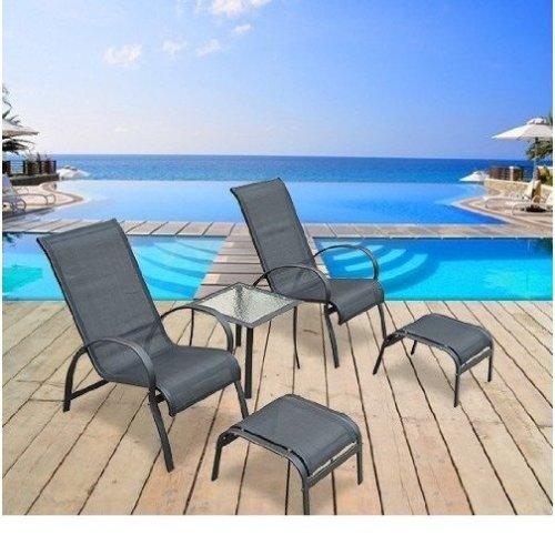Outsunny Garden Patio Lounger 5 Pcs Set Reclined Chair Coffee Table Aluminium Frame Black