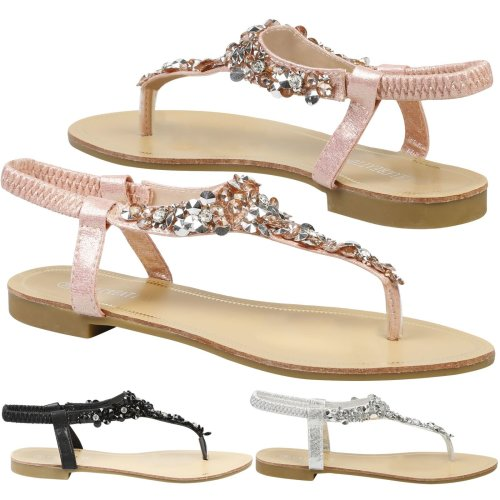 Veronica Womens Flats Diamante Elasticated Flip Flops Ladies Thong Sandals Shoes