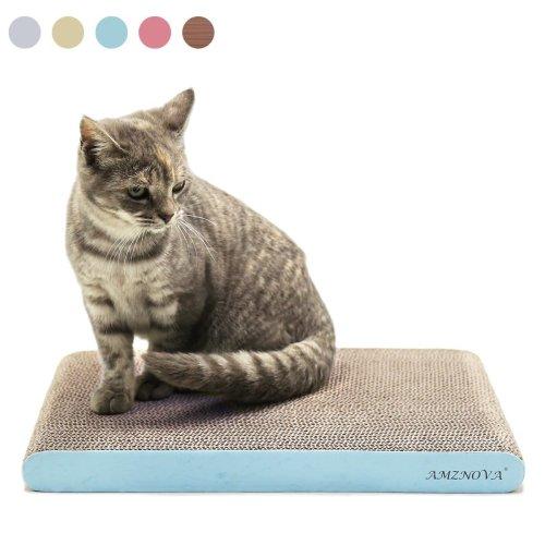 AMZNOVA Durable Flat Cardboard Cat Scratcher, Colors Series, Wide, Baby Blue