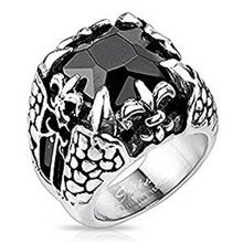 Black Square Faceted Onyx Gem Dragon Claw and Fleur De Lis Surgical Steel 21mm Width Ring