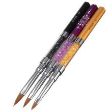 Dual-head Acrylic French Crystal Nail Art UV Gel Brush DIY Painting Pen Manicure Tools 3 Colors