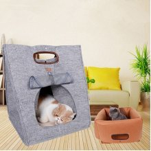 Small Pet Dog Cat Multi-function Natural Felt Cloth Pet  For Outdoor Carrier Handbag Bed