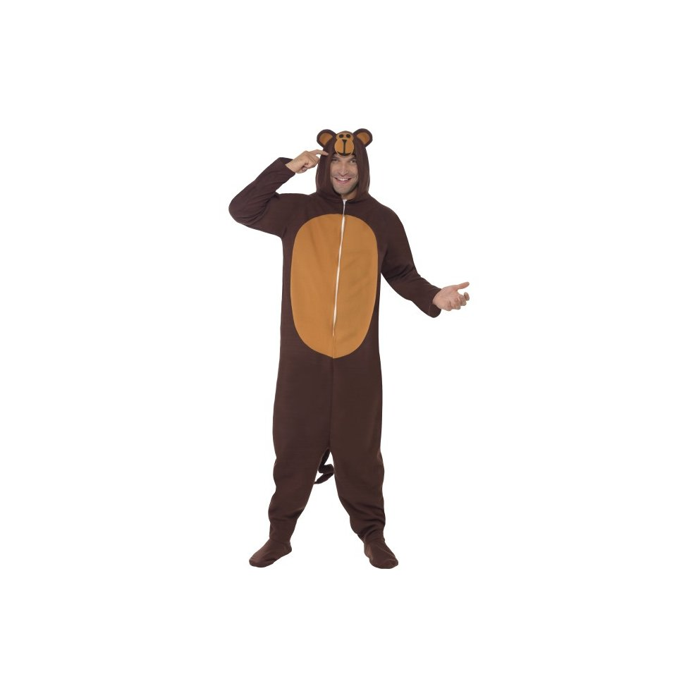 Smiffy\'s Adult Men\'s Monkey Costume, All In One With Hood, Party ...