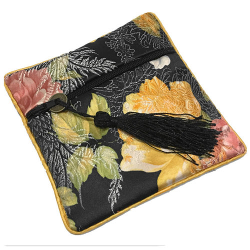 2PCS Chinese Embroidery Purse Jewelry Coins Pouch Bag Stylish Gift, Black