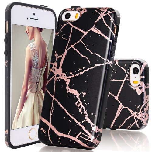fa30c7a8ef iPhone 5 Case,iPhone 5S Case,DOUJIAZ Black Rose Gold Marble Design Clear  Bumper TPU Soft Case Rubber Silicone Skin Cover for iPhone 5 5s SE on OnBuy