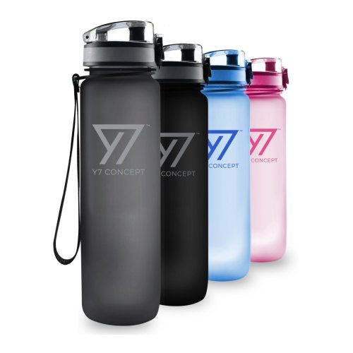 32f4256656 Y7 Concept Sports Water Bottle Eco Friendly BPA Free Plastic 1 Litre, Leak- proof Lid, with Filter - Grey on OnBuy