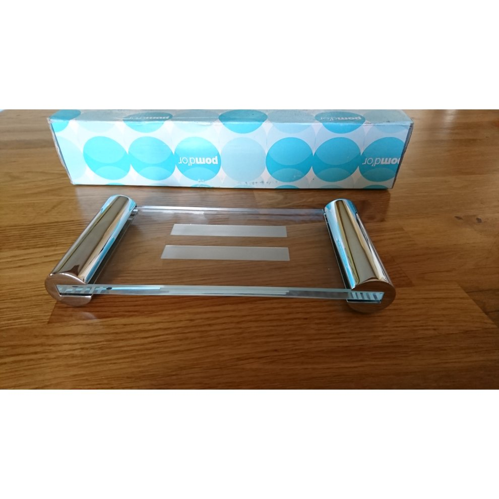 Pomdor Free Standing Soap Dish Glass And Chrome On Onbuy
