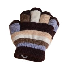 Multicolor Winter Warm Knit Gloves Plush-lined Mittens for Kids, #05