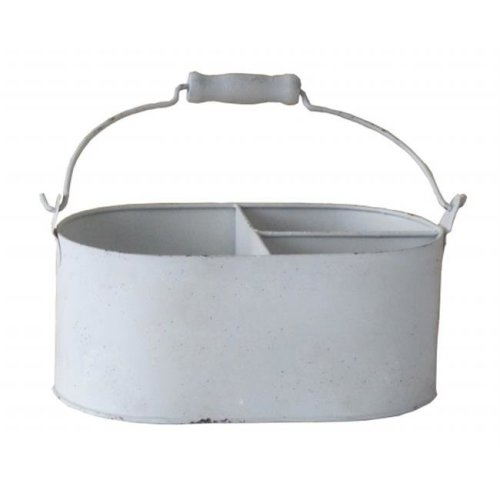 Cheungs Rattan FP-3611 Metal pot with 3 Separated sections - Shabby White