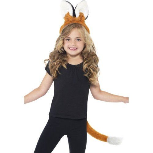 Smiffy's Children's Unisex Fox Kit, Headband & Tail, One Size, Colour: Brown, -  fox kit fancy dress tail animal book week headband smiffys child