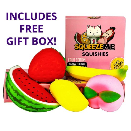 SQUEEZE ME SQUISHIES | JUMBO FRUIT SLOW RISING SQUISHY TOYS | Scented Decompression Toy | FREE GIFT BOX INCLUDED with the ORIGINAL COMPLETE PACK |...