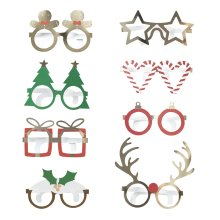 Novelty Fun Card Glasses x 8 Christmas Party Games