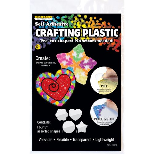 """Crafting Plastic Self-Adhesive Shapes 5"""" 6/Pkg-Heart, Round, Flower & Star/1 Or 2 Each"""