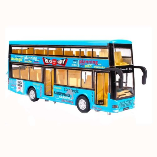 Children Toy Car Double Toy Bus With Light and Sound Effects Blue