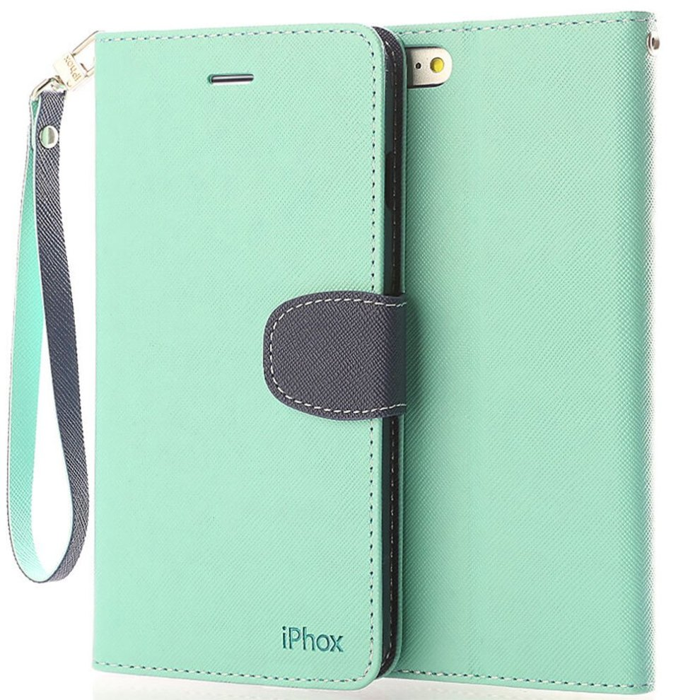 the best attitude 55ab3 e6c0d iPhone 6S Leather Case, iPhone 6 Leather Case, IPHOX Premium Folio Leather  Wallet Case with [Kickstand][Hand Strap][Card Slots] [Magnetic Closure]...
