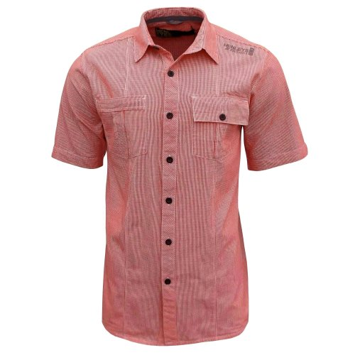 Henleys Men's Gingham Check Casual Long Plus Size Shirt Top tomato red