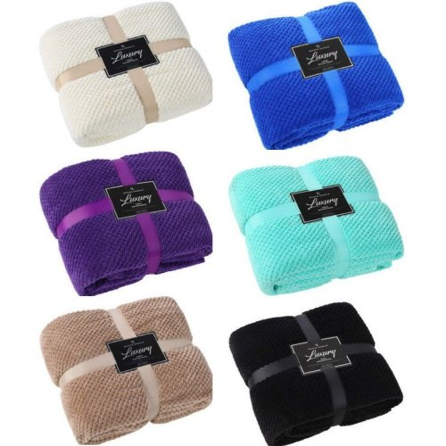 Popcorn Super Soft Cuddly Cosy Warm Sofa Bed Blanket Throws