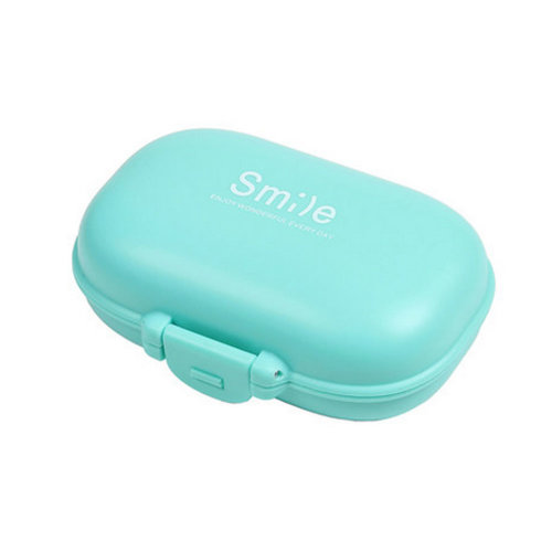 Pocket Pill Organizer Box Case 4 Compartments Medicine Storage Container, Blue