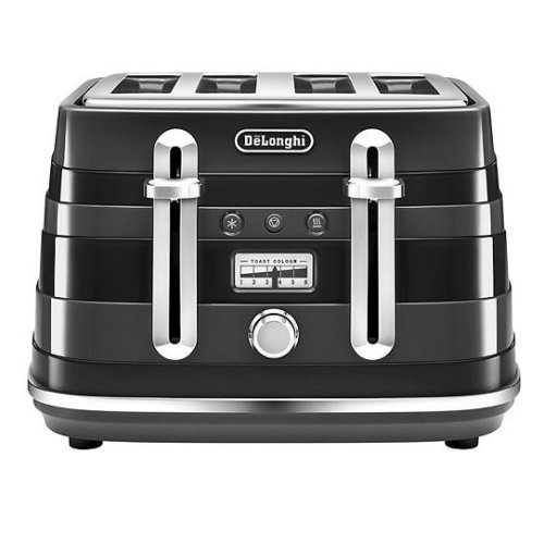 DeLonghi CTA4003.BK Avvolta 4 Slice Toaster 1800W Variable Browning Black