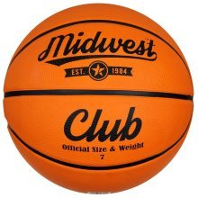 Size 7 Tan Midwest Club Basketball -  club basketball tan midwest size 7 deep channel rubber surface bladder
