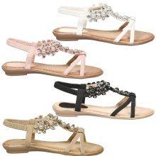 Helena Womens Flat Pearl Gem Open Toe Sandals in UK Size 7 -10