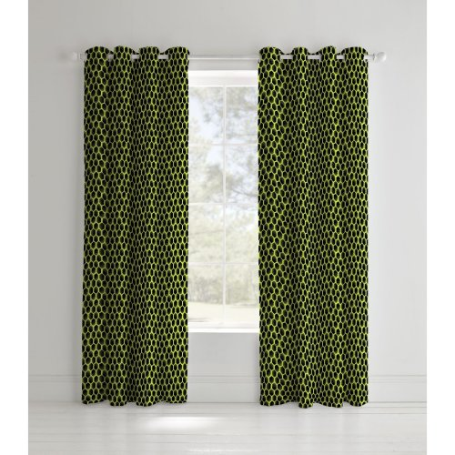 Catherine Lansfield Neon Football Easy Care Eyelet Curtains Yellow, 66x72 Inch