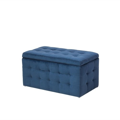 Ottoman - Footstool - Stool - Pouffe - Storage - Dark Blue - MICHIGAN