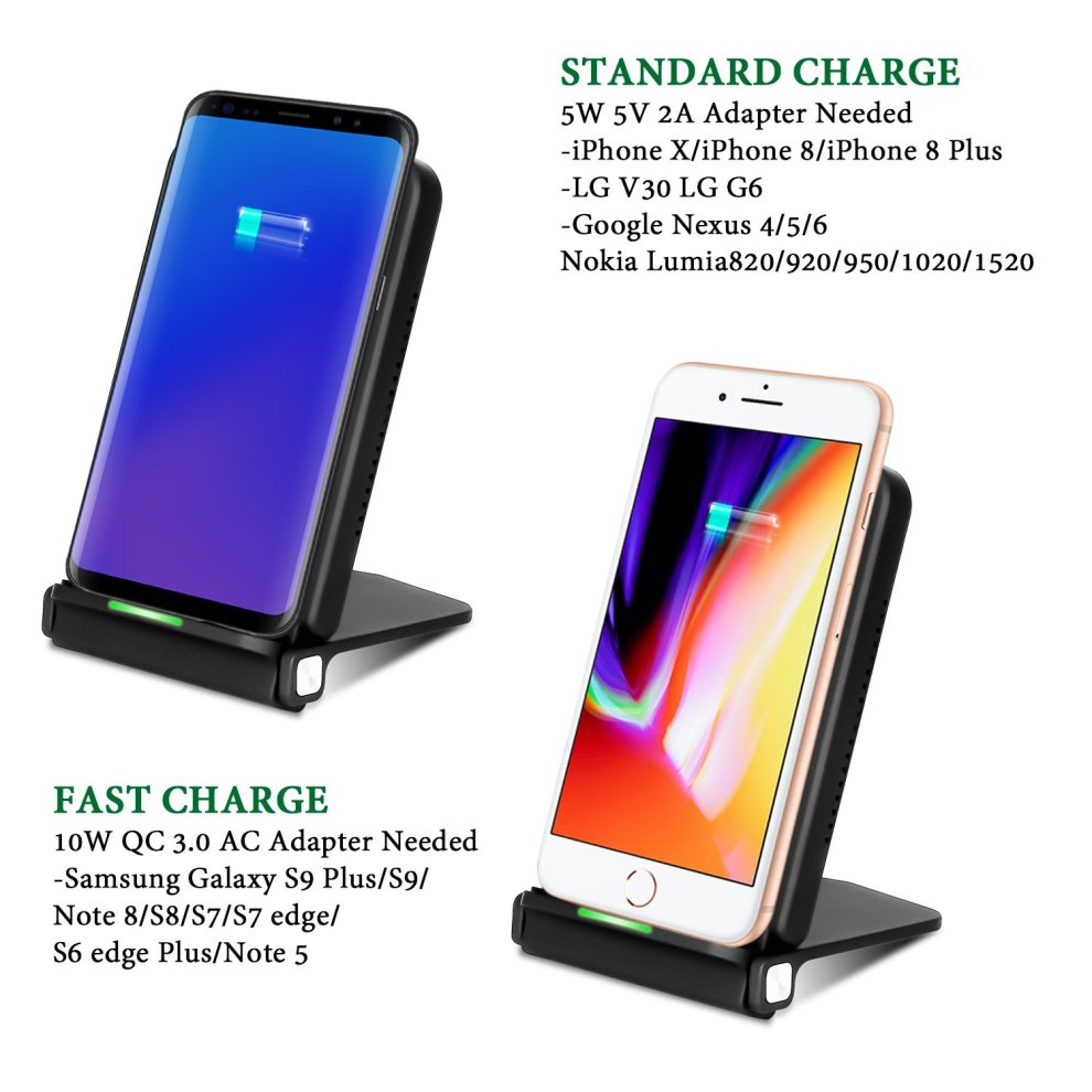 Layama iPhone X Wireless Charger, 10W Fast Wireless Charger Stand for  Samsung Galaxy Note 8 S8 S8 Plus S7 Edge S7 S6 Edge Plus Note 5, Standard