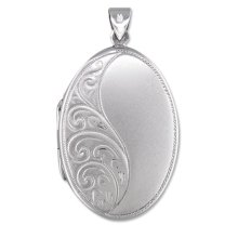 Childrens Sterling Silver Half Embossed Oval Locket On A Curb Necklace